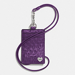 PERFORATED EMBOSSED LIQUID GLOSS LANYARD ID CASE - f62406 - SILVER/VIOLET