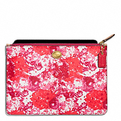 COACH PEYTON FLORAL PRINT MEDIUM TECH POUCH - BRASS/PINK MULTICOLOR - F62421