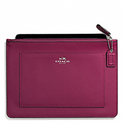 DARCY LEATHER MEDIUM TECH POUCH - SILVER/MERLOT - COACH F62437