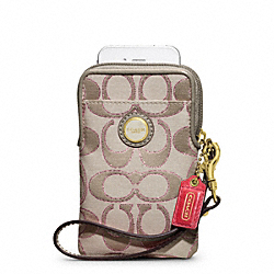 COACH MICKIE ACCORDION ZIP WALLET IN QUILTED DENIM - BRASS/CREAM LIGHT KHAKI/ROSE - F62516