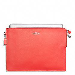 DARCY LEATHER METRO TECH POUCH - SILVER/VERMILLION - COACH F62520