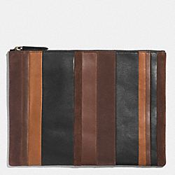 COACH BLEECKER PORTFOLIO IN MIXED BAR STRIPE LEATHER - FAWN/MULTICOLOR - F62530