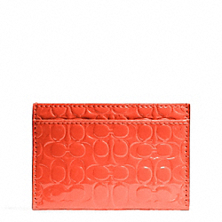 COACH EMBOSSED LIQUID GLOSS CARD CASE - SILVER/HOT ORANGE - F62544