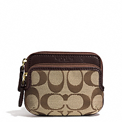 COACH PARK SIGNATURE DOUBLE ZIP COIN WALLET - BRASS/KHAKI/MAHOGANY - F62545