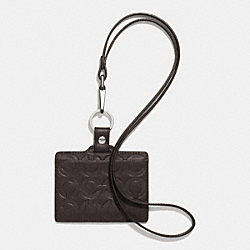 COACH ID LANYARD IN OP ART EMBOSSED LEATHER - MAHOGANY - F62551