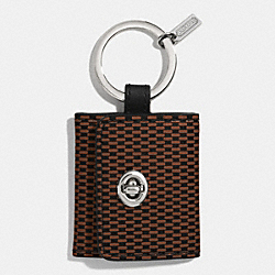 COACH PRINTED LEATHER PICTURE FRAME KEY RING - SILVER/BRICK - F62561