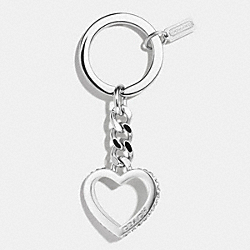 COACH PAVE CURB CHAIN HEART KEY RING - SILVER/CLEAR - F62562