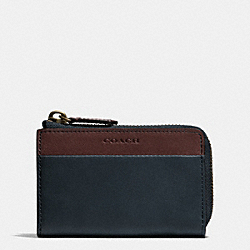 BLEECKER ZIP KEY CASE IN COLORBLOCK LEATHER - NAVY/CORDOVAN - COACH F62567