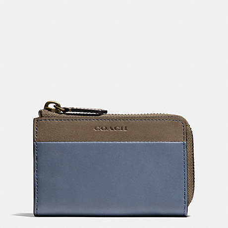 COACH BLEECKER ZIP KEY CASE IN COLORBLOCK LEATHER - FROST BLUE/WET CLAY - f62567