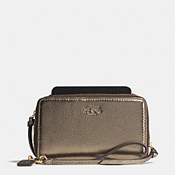 COACH BLEECKER DOUBLE ZIP PHONE WALLET IN METALLIC LEATHER - GOLD/GOLD - F62584