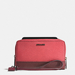 COACH DOUBLE ZIP PHONE WALLET IN SAFFIANO COLORBLOCK MIXED MATERIAL - ARD1H - F62612