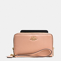 COACH MADISON DOUBLE ZIP PHONE WALLET IN LEATHER - LIGHT GOLD/ROSE PETAL - F62613