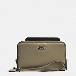 COACH MADISON DOUBLE ZIP PHONE WALLET IN LEATHER - BLACK ANTIQUE NICKEL/OLIVE GREY - F62613