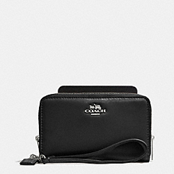MADISON DOUBLE ZIP PHONE WALLET IN LEATHER - SILVER/BLACK - COACH F62613