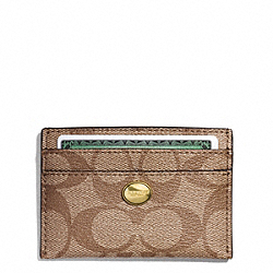 COACH PEYTON SIGNATURE CARD CASE - BRASS/KHAKI/MAHOGANY - F62633