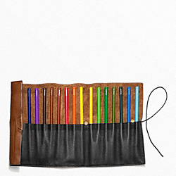 BLEECKER LEATHER PENCIL ROLL COACH F62636