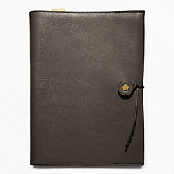 COACH BLEECKER LEATHER A5 NOTEBOOK - DARK GREY - F62656
