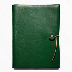 COACH BLEECKER LEATHER A5 NOTEBOOK - EMERALD - F62656
