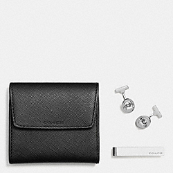 COACH BOXED CUFFLINK AND TIE BAR SET - BLACK - F62692