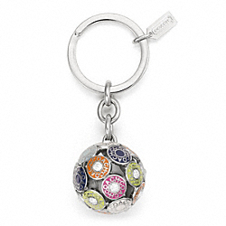 COACH SNAPHEAD SPHERE KEY RING - SILVER/MULTICOLOR - F62732