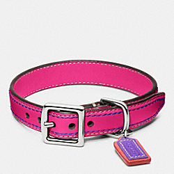 COACH LEATHER COLLAR - SILVER/PINK - F62752