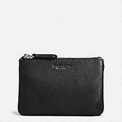 PARK LEATHER DOUBLE GUSSET COIN PURSE - SILVER/BLACK - COACH F62775