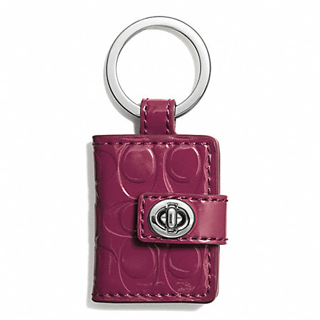 COACH EMBOSSED PICTURE FRAM KEY RING - SILVER/CRIMSON - f62786