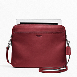 LEATHER DOUBLE UNIVERSAL SLEEVE - SILVER/BLACK CHERRY - COACH F62796