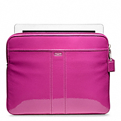 COACH PATENT LEATHER EAST/WEST UNIVERSAL SLEEVE - SILVER/MAGENTA - F62820