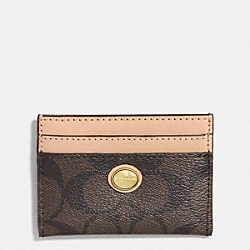 COACH PEYTON SIGNATURE CARD CASE - BRASS/BROWN/TAN - F62861