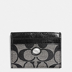 COACH PEYTON SIGNATURE CARD CASE - SILVER/BLACK/WHITE/BLACK - F62861