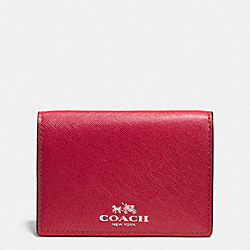 DARCY LEATHER BIFOLD CARD CASE - f62874 - SILVER/RED