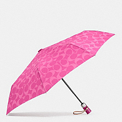 PERFORATED EMBOSSED LIQUID GLOSS SIGNATURE UMBRELLA - SILVER/FUCHSIA - COACH F62958