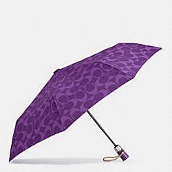 PERFORATED EMBOSSED LIQUID GLOSS SIGNATURE UMBRELLA - SILVER/VIOLET - COACH F62958