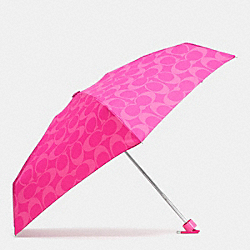 PERFORATED EMBOSSED LIQUID GLOSS SIGNATURE MINI UMBRELLA - SILVER/FUCHSIA - COACH F62962