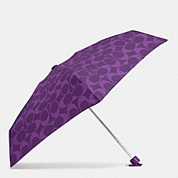 PERFORATED EMBOSSED LIQUID GLOSS SIGNATURE MINI UMBRELLA - SILVER/VIOLET - COACH F62962