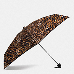 PEYTON OCELOT PRINT MINI UMBRELLA - SILVER/NATURAL MULTI - COACH F62963