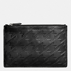 COACH LARGE POUCH IN HOUNDSTOOTH LEATHER - BLACK/BLACK - F63013