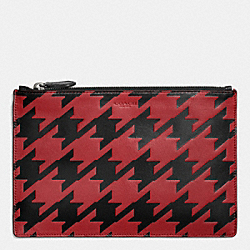 COACH LARGE POUCH IN HOUNDSTOOTH LEATHER - RED CURRANT/BLACK - F63013