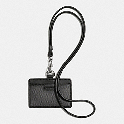 COACH COACH HERITAGE CHECK ID LANYARD - CHARCOAL - F63019