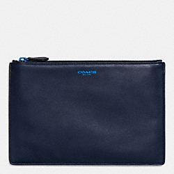 COACH POP LARGE POUCH IN LEATHER - NAVY/COBALT - F63041