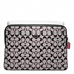 POPPY SIGNATURE SATEEN METALLIC LAPTOP SLEEVE COACH F63058