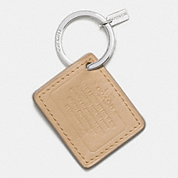 COACH LEATHER STORYPATCH KEY RING - SILVER/CHALK - COACH F63081