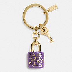 COACH SPRINKLE C LUCITE LOCK KEY RING - LIGHT GOLD/VIOLET - F63095