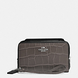 COACH DOUBLE ZIP PHONE WALLET IN CROC EMBOSSED LEATHER - SILVER/MINK - F63104