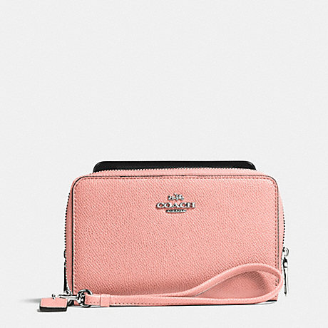 COACH DOUBLE ZIP PHONE WALLET IN CROSSGRAIN LEATHER - SILVER/BLUSH - f63112