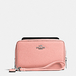 DOUBLE ZIP PHONE WALLET IN CROSSGRAIN LEATHER - f63112 - SILVER/BLUSH