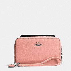 COACH DOUBLE ZIP PHONE WALLET IN EMBOSSED TEXTURED LEATHER - SILVER/PINK - F63112