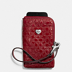 COACH PERFORATED EMBOSSED LIQUID GLOSS UNIVERSAL PHONE CASE - SILVER/RED - F63131