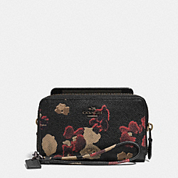 COACH DOUBLE ZIP PHONE WALLET IN FLORAL PRINT LEATHER - BN/BLACK MULTI - F63148